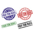 damaged textured pray for paris stamp seals vector image