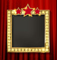 empty golden painting frame on red curtain wall vector image