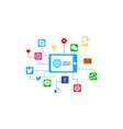 flat design social media strategy vector image vector image