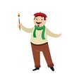 flat man artist painter holding brush vector image