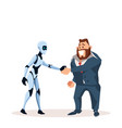 happy business man in suit and robot shake hand vector image