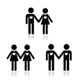 Hetero gay and lesbian love couples icons set vector | Price: 1 Credit (USD $1)