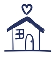 house and heart drawing isolated icon vector image