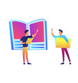 huge book teacher pointing and student vector image