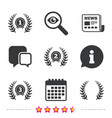 laurel wreath award icons prize for winner vector image