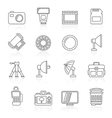Line photography equipment icons vector image
