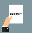 man showing paper university text vector image vector image