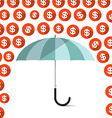 Money - Dollar Coins Rain and Umbrella vector image