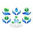 natural logo design set hands leaves water vector image