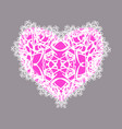 pink lacy heart on a gray background on valentines vector image
