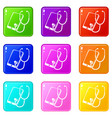 problem search smartphone icons set 9 color vector image vector image