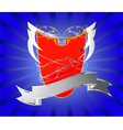 Red shield with silver banner vector image vector image