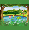 scene with pond and mountain vector image vector image