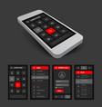 set of black and red mobile ui vector image vector image