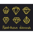 set of golden diamonds vector image vector image