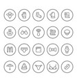 set round line icons of accessories vector image vector image