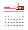 simple calendar 2015 year october month vector image