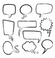 sketch speech bubbles doodle message bubble vector image vector image