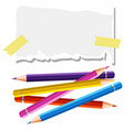 small piece of paper and many color pencils vector image