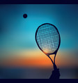 tennis silhouette hand with racket in sky vector image