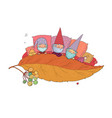 three gnomes sleep under leaf forest elves vector image vector image
