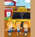 three students in uniform by the schoolbus vector image vector image