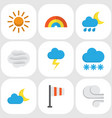 weather flat icons set collection of the flash vector image vector image
