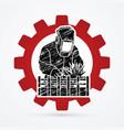 welding with sparks welder working vector image vector image