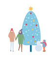 winter family image with tree and snowman vector image vector image