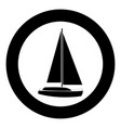 yacht icon black color in circle vector image
