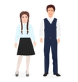 School little kids boy and girl together in formal vector image