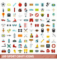 100 sport craft icons set flat style vector image vector image