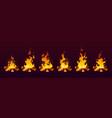 animation fire burn on wood 2d effect cartoon vector image vector image