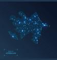 azerbaijan with cities luminous dots - neon