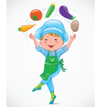Baby cook juggles vegetables vector image vector image