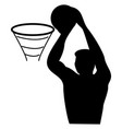 basketball player drawing on white background vector image vector image