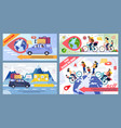 bicycle and car trip round globe promo banner set vector image