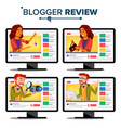 blogger review concept video blog channel vector image