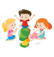 boys and girls passing object round the circle vector image vector image