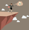 Business woman takes a leap of faith on Clifftop vector image vector image