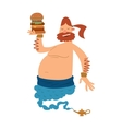 Cartoon fat boy gin with large hamburger coming vector image vector image