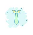 cartoon tie icon in comic style necktie sign vector image