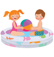 Children playing in inflatable pool vector image