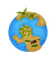 earth planet globe with tropical islands vector image