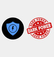 electric shield icon and scratched dark vector image vector image