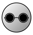 Glasses button vector image