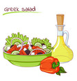 greek salad and oil vector image