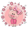 greeting card cute pig with flowers vector image vector image