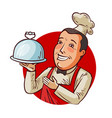 happy chef with tray in hand restaurant eatery vector image vector image