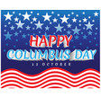 happy columbus day red white line wave stars vector image vector image